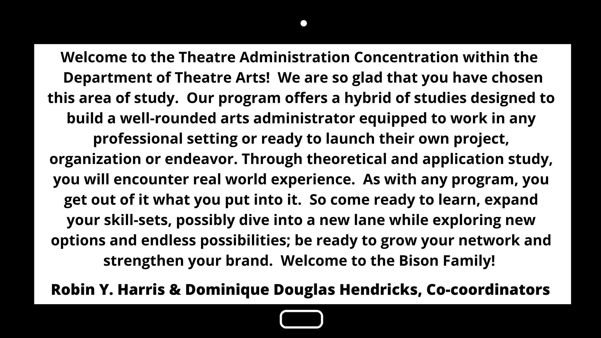 Theatre Arts- ASD Welcome Letter